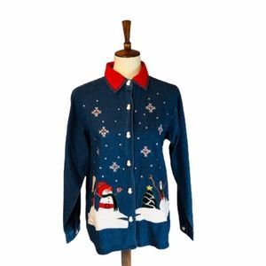 Tantrums Christmas Embroidered Denim Top